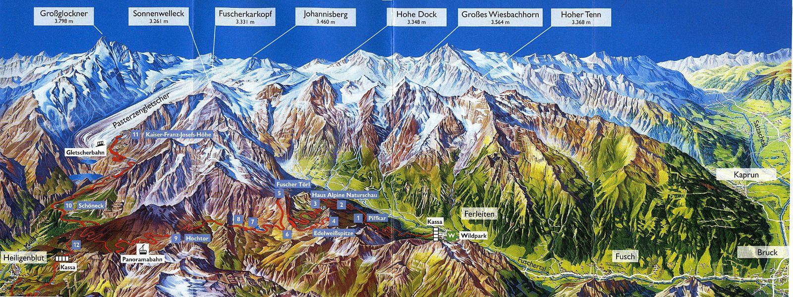 Mapa Grossglockner Hochalpenstrasse
