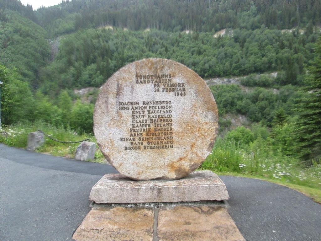 Pomnik pamięci w Muzeum Norweskiego Przemysłu Rjukan...